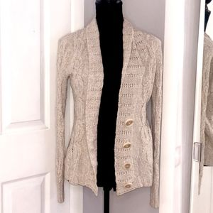 The Limited Beige Knit Cardigan with Buttons